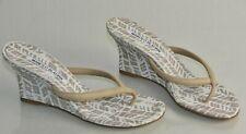 NEW Manolo Blahnik Patwedfac Printed Thong Wedge Slides Beige Sandals Shoes 36