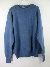 POLO Ralph Lauren mens blue gray tweed lambswool crewneck purple pony L EUC