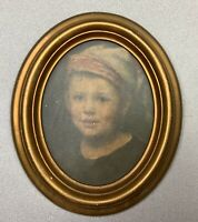 Antique Gold  Wood Oval Picture frame  With Hansel