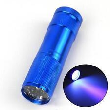 Aluminium 9 LED UV Flashlight Torch Ultra Violet purple light Detection blue 3]