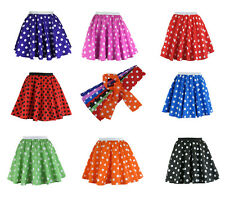Girls Polka Dot Rock n Roll 50s Skirt & Scarf Fancy Dress Jive Costume