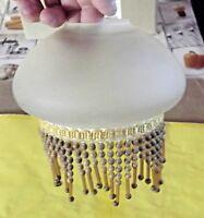 Ancienne petite suspension,Plafonnier Abat jour verre Pampilles vintage rétro
