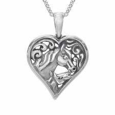 Kabana Horse Mother's Jewel Heart Pendant in Sterling Silver