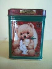 "Morehead Collectible Tin Candle w/Teddy Bear Design - 3 5/8"" Tall, 2 1/2"" square"