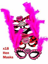 18 x Hen Party Eye Masks Bachelorette Bride To Be Masquerade Fancy Dress Feather