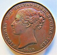 1858 Jersey Victoria, Young Head 1/13 Shilling, Grading About EXTRA FINE.