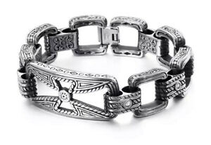 MENS AZTEC BRACELET FOR MEN SILVER 316L SSTEEL LUXURY HOLLOW CROSS DIAMANTE UK
