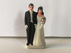Vintage Wedding Cake Topper of Bride and Groom Porcelain Marked Japan