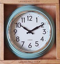 NEW DUCKEGG BLUE LIGHT TEAL LAYERED ROUND KITCHEN WALL CLOCK NEXT DAY DESPATCH