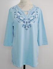 Denim & Co Size PL Round Neck 3/4-Sleeve Tunic Neck Lake Blue Shirt Top New