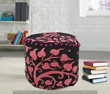 Mandala Elephant Cotton Round Ottomans Cover Handmade Floor Pillows Footstools