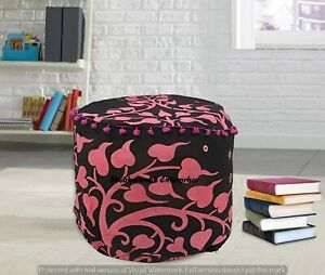 Mandala Elephant Cotton Round Ottomans Cover Handmade Floor Pillows Footstools
