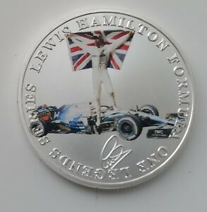 Ayrton Senna Lewis Hamilton Silver Coin Autographed Formula 1 Motor Car Racing