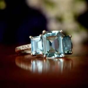 3Ct Emerald Cut Aquamarine Three-Stone Women Engagement Ring 14K White Gold Over