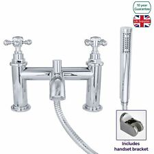 EDWARDIAN TRADITIONAL CHROME BATH SHOWER MIXER TAP SOLID BRASS CURVED SPOUT