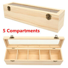 5 Compartments Plain Wooden Tea Box Bag Caddy Storage Chest Container Glass Lid