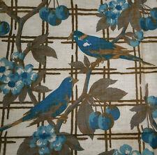 Antique  Cherry Arbor Trellis Bird Cotton Fabric ~ Blueberry Blue Brown Gray