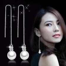 Ladies Jewelry 925 Sterling Silver Pearl Crystal Party Wedding Threader Earrings