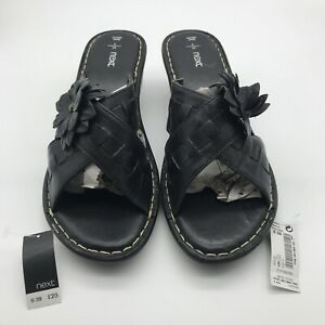 New Next Womens Black Wedge Sandals. Size 6.