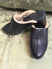 vintage Ugg Black shearling lined Leather Clog heel mules 9 us 7.5 Uk 40 Eu 26 J