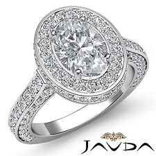Halo Pre-Set Oval Diamond Lustful Engagement Ring GIA F VS1 18k White Gold 3.1ct