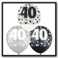 24 X 40th Birthday Balloons In Black, Silver & White Party Supplies Decorations