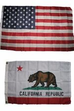Combo Lot 3x5 USA Flag & State of California Republic 2x3 2 Flags-ON SALE!