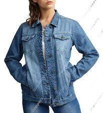 NEW Womens Distressed Oversized Boyfriend Denim Blue Jacket Size 8 10 12 14 16