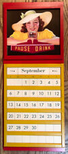 Coca-cola Red Wood Perpetual Calendar With 4 Color Panels Of Coca Cola Ads