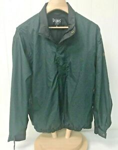 Dryjoys By Foot Joy Mens Pullover 1/4 Zip Button up Size M Green/Black E07-8