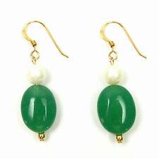 Genuine White Pearl & Dark Green Jade 14K Gold Filled Hook Earrings