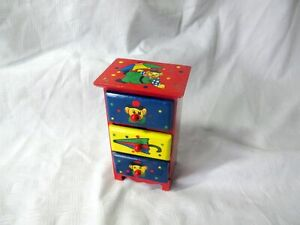 LITTLE HAND-PAINTED CHILD'S WOODEN DRAWERS SET