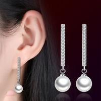 925 Silver Women Crystal Pearl Pendant Long Ear Stud Earrings Wedding Jewelry