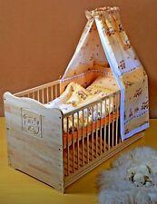 Lit Bébé Complet Lot à Barreaux Enfant 2 in1 Convertible 5 Couleurs Bois Massif