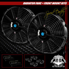 "2 X UNIVERSAL SLIM 12"" PULL/PUSH RADIATOR ENGINE BAY COOLING FAN+MOUNTING BLACK"
