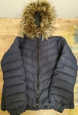 Women's Gap Size Small Goose Down Filled Bomber Jacket , Removable Fur Trim GUC!