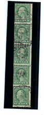 1 cent Washington strip of 5 perf. shift down folded little bend