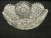 "Vintage American Brilliant Period CUT GLASS BOWL SERVING BOWL -  Heavy - 8"" rd"
