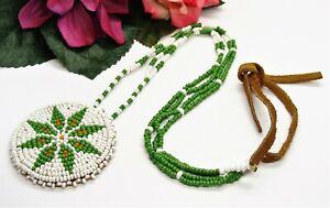 Nice! Vintage Suede Green White & Orange Artisan Hand Beaded Flower Necklace!