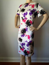 ST JOHN KNIT  DRESS 12 FLORAL SILK SHEATH DRESS CREAM BLACK PINK PURPLE