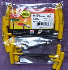 """HTX106 Bondhus 10 Piece 6"""" T Handle Hex Key set Imperial Allen Key"""