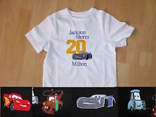 Personalised Embroidered Long Sleeves Storm Racing Cars 3+ Birthday Boy T-shirt