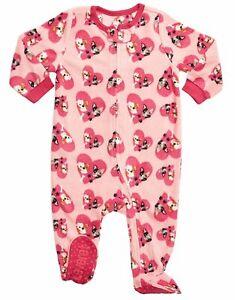 Leveret Baby Girls Bulldog Fleece Footed Sleeper Pajama (Size 6M - 5T)