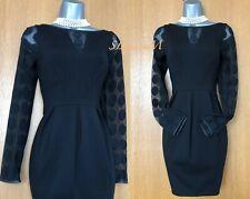 Karen Millen Black Spot Lace Long Sleeves Leather Neck Formal Dress UK 10 EU38