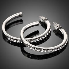White Gold Plated Clear Austria Crystal Luxury Round Hoop Design Women Earrings