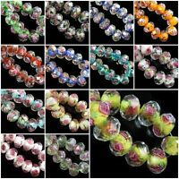 8mm Rondelle Glass Crystal Jewelry Rose Flower Inside Lampwork Loose Beads