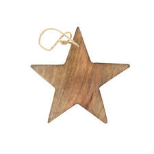 Hanging Wood Star Christmas Tree Ornament, Natural, 5-Inch