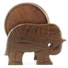 New listing Elephant Design Wooden Coasters With Holder - set of 6, Handcrafted in India.