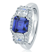 Women 10MM Silver 2ct Simulated Tanzanite 3 Stone Wedding Anniversary Ring