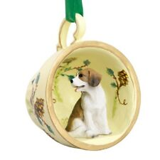 3-D Beagle Dog Teacup Ornament Holly Pine cone Ribbon Hanger New